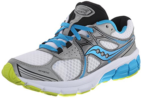 Saucony Women's Mystic Road Running Shoe, White/Blue/Citron, 5 M US White/Blue/Citron