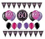 Fête d'anniversaire 60ans I 14pièces ballon Guirlande Ballon Gonflable I Rose Noir Violet I Party Kit déco 60