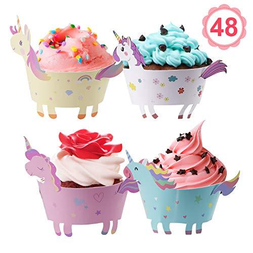 NUOSEM Einhorn Cupcake Wrappers Papier 48 Stücke süße Unicorn Muffins Dessert Dekoration Verpackung für Kinder Geburtstag Party, Hochzeit Kuchen Deko