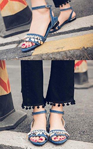 NobS Piatti Jeans Sandals Cinturino Donne In Rilievo Metallo Ragazze Large Size 40-45 Fibbia Scarpe Punta Aperta Blue