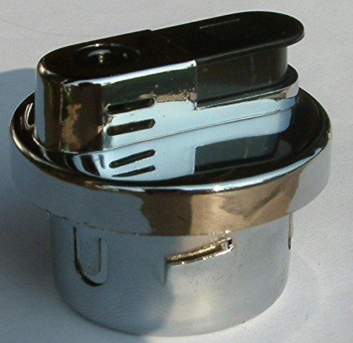 Gas Feuerzeug Tischfeuerzeug Einsatz silber Chrom poliert rund 5,0 x 4,2 cm