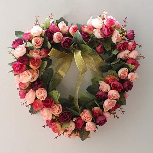 e Künstliche Krand-Blume,Heart Shape Türkranz Bauernhaus Kranz Girlandkranz Für Hochzeit Tabelle Mittelstücke Home-Party-dekor -b 35x35cm(14x14inch) ()