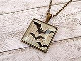 Viereckige Halskette mit Fledermaus Motiv Gothic Vampir Schmuck