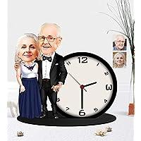 Kişiye Özel Büyüknne Büyükbaba Karikatürlü Ahşap Biblo Masa Saati
