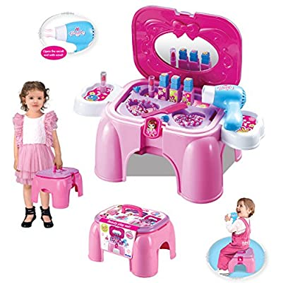 (SD-P) deAO® Pink Dressing Table Play Set in a stool carrycase