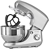 Andrew James Electric Stand Food Mixer with 5.5 Litre Mixing Bowl for Bread and Dough | 4 Attachments Included Dough Hook and Whisk Splash Guard Cover Ingredients Dispenser and 6 Speed Settings | 800W