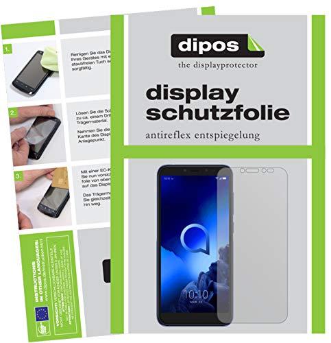 dipos I 5X Schutzfolie matt passend für Alcatel 1S Folie Displayschutzfolie (bewusst Kleiner als das Glas, da Dieses gewölbt ist)