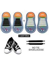 No Tie Shoelaces for Adults,Men & Women - Waterproof & Stretchy Silicone Flat Elastic Tieless Shoelaces for Athletic & Dress Shoes,Shoe Laces with Multicolor for Sneaker Boots and Casual Shoes(20pcs)