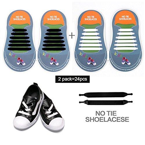 Schnürsenkel ohne Zubinden für Erwachsene, Herren und Damen, wasserfestes und dehnbares Silikon, flache elastische Schnürsenkel ohne Schleife, für Sportschuhe und Anzugschuhe, Schnürsenkel in mehreren Farben für hohe Turnschuhe und Freizeitschuhe (20Stück), unisex, White & Black for kids (Schuhe Navy Kinder Trim)