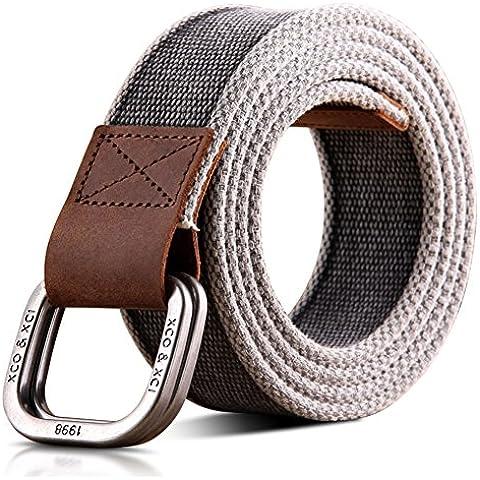 Banda de lona hebilla doble anillo retro/correa de los hombres ardientes/Cinturón cuero-A 105cm(41inch)