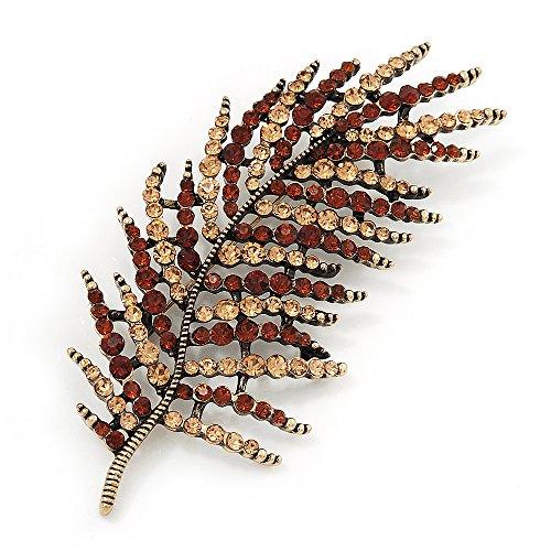 Brosche Blatt Kristall große Größe atemberaubenden Antik Gold Metall (Bernstein/champagner)-Länge 9cm