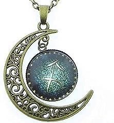 Idea Regalo - EVRYLON Collana Segno Sagittario Uomo Donna Simbolo Zodiacale Oroscopo Zodiaco Luna Costellazioni Bellissimo Regalo Ragazzi Unisex