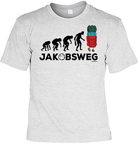 Wander T-Shirt Evolution Jakobsweg Pilger Shirt 4 Heroes Geburtstag Geschenk geil bedruckt Grau