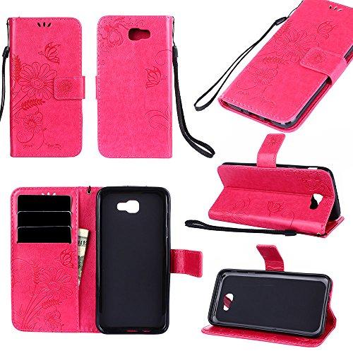 Horizontale Bookstyle Flip Case Premium PU Ledertasche, Solid Color Embossed Blumen Schutzhülle Tasche Tasche mit Lanyard & Stand für Samsung Galaxy J5 Prime ( Color : Green ) Red