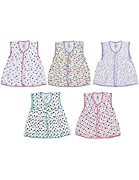Sathiyas Baby Girls Gathered Dresses (Pack of 5) (0-6Months) (Center Button)
