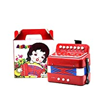FairytaleMM 1PC Mini Kids Accordion 7-Key 3 Bass Educational Childrens Beginner Practice Music Instrument Band Toy(Red)