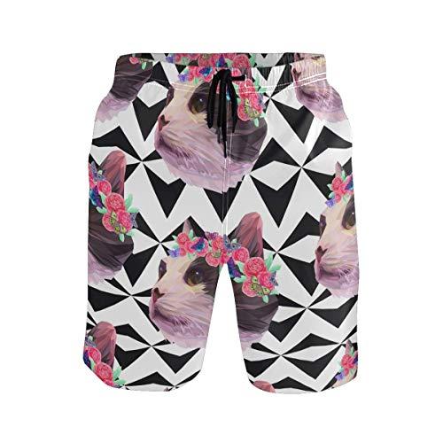 KAKICSA Men's Summer ShortsPink Cat Heads and Roses Butterflies Geometric Back,Size:M
