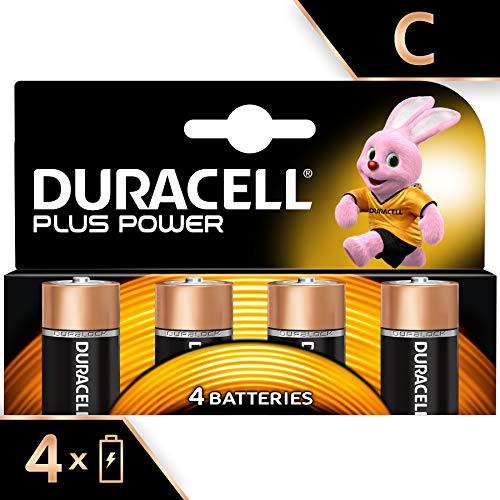 Duracell Plus Power C - Pila alcalina de gran duración,  4 unidades