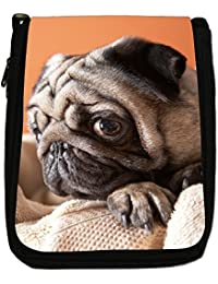 Pug Pugs Love Little Dogs Medium Black Canvas Shoulder Bag - Size Medium