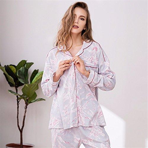 le donne sono in cotone a maniche lunghe quanto riguarda l'abbigliamento da notte a casa completo per le donne che in autunno e in inverno la stampa l.