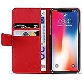 JAMMYLIZARD Lederhülle für iPhone X/Xs | Ledertasche [ Classic Wallet Tasche Series ] Leder Book Case Hülle Flip Cover Schutzhülle mit Kartenfach, Rot