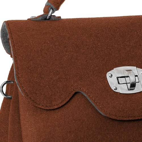 CASPAR Damen Tasche Filztasche mit kurzem Henkel und Schultergurt MADE IN ITALY - viele Farben - TS588 Braun