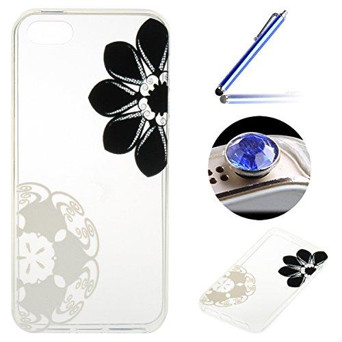 iPhone 5/5S/SE Coque, Etsue pour iPhone 5/5S/SE Vogue Gel Housse étui de téléphone mobile ,TPU Silicone Matériau Transparente Ultra Mince Supérieur Semi Transparent Doux Coque [Flamant] Motif pour iPh Fleur Blanc et Noir