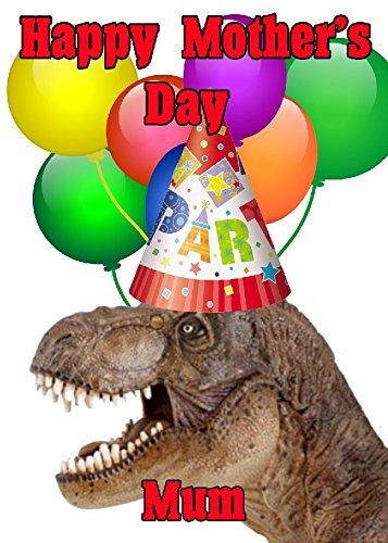 T-Rex Happy Mother 's Day Party Hat Karte chmd295personalisierbar Grüße
