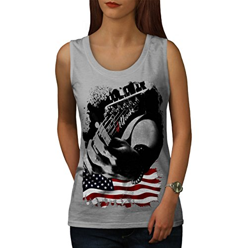 USA Musik Flagge Wellcoda Musik Stil Damen S-2XL Muskelshirt | Wellcoda Grau