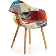kave home chaise avec accoudoirs kevya patchwork - Chaise Scandinave Multicolore
