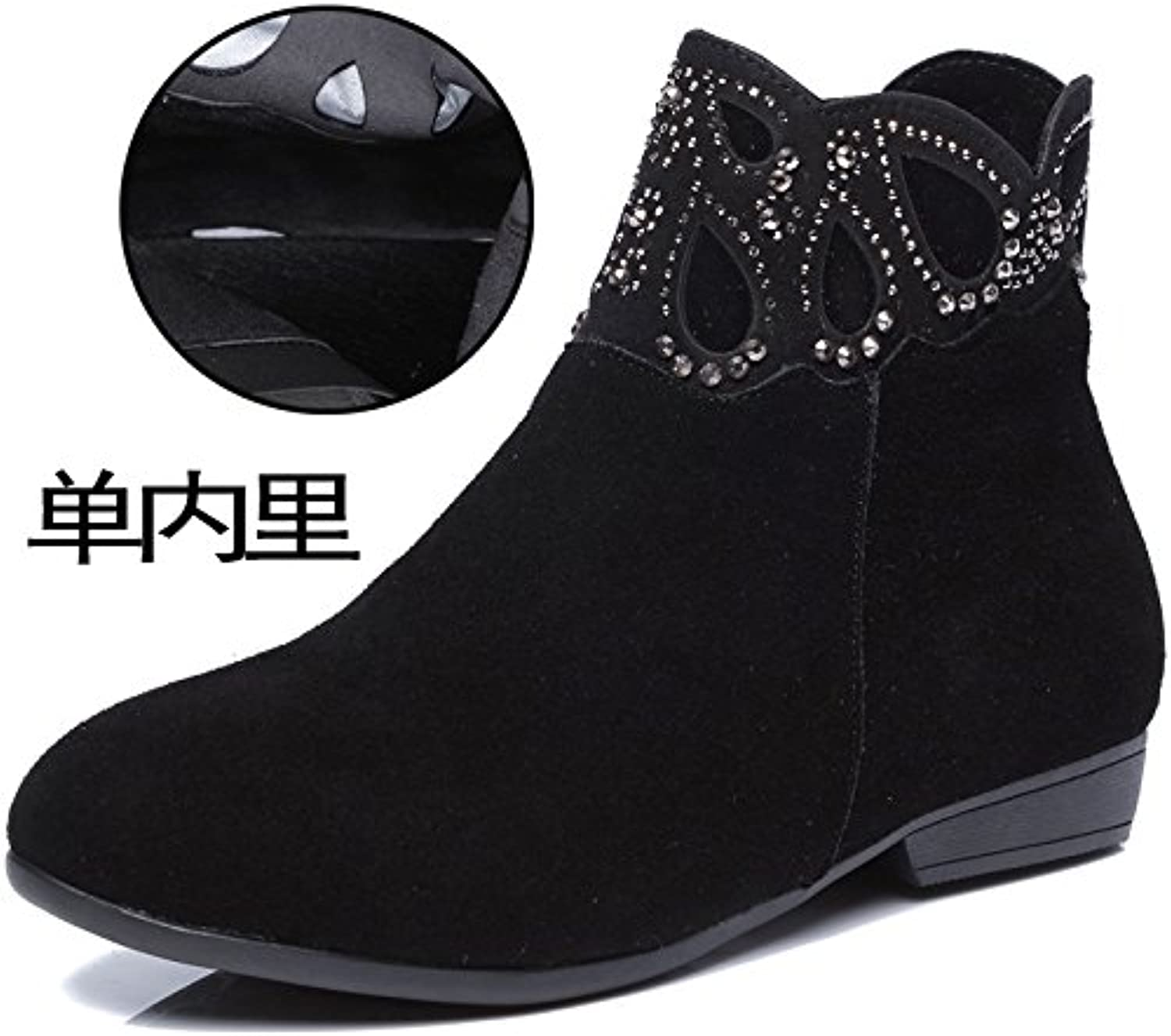 LGK&FA Women's Shoes Boots Flat Bottomed Martin Boots Single Boots Big Yards Women's Boots Hollowed out Shoes....
