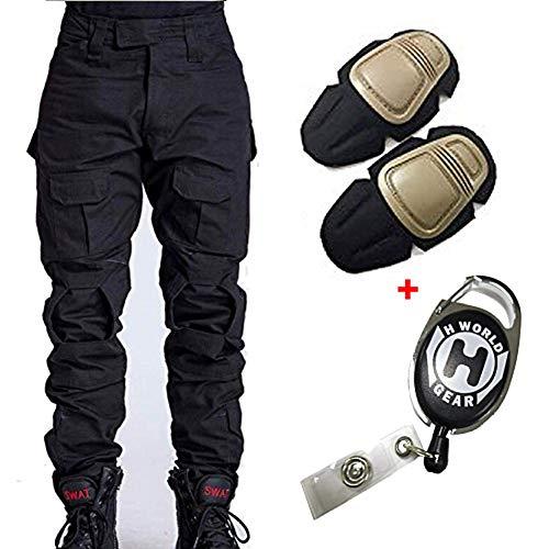 H Welt EU - Pantalones militares del ejército táctico, para airsoft o paintball, pantalones de lucha para hombre con rodilleras, color negro, tamaño xx-large