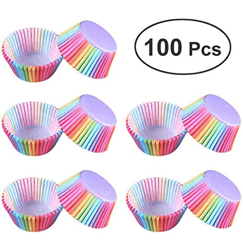 100 teile/los Regenbogen Cupcake Liner Papier Backenschale Muffin-kästen Kleine Backform Box Halter Tray Dekorieren Werkzeuge
