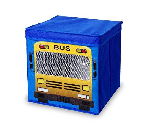 783103 Caja guarda juguetes cuadrada con tapa 27 x 28 cm MONO - BUS - School bus (amarillo)