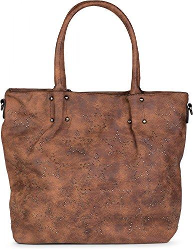 styleBREAKER Vintage Shopper Tasche mit All Over Nieten in Stern Form, Schultertasche, Umhängetasche, Handtasche, Damen 02012099, Farbe:Braun