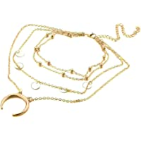 Jewels Galaxy Trendy Moon Triple Layered Fashion Necklace for Women/Girls