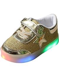hibote Muchachos del niño de las muchachas de luz para arriba los zapatos oro EU 27