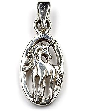 Einhorn mystische Schmuck Kette 925 Silber, Anhänger Länge mit Öse: 22mm