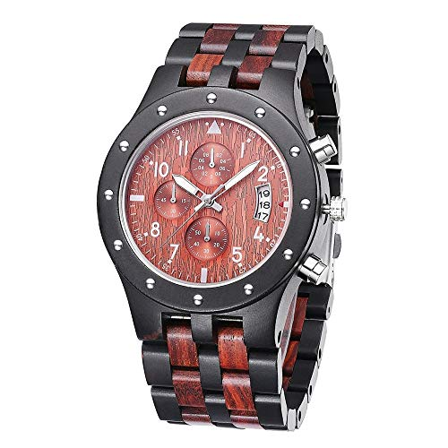 Wood watch Mens Black Watch, Fashion Business-Analog-Quarz-Edelstahl-Uhr, Multifunktions-Datum Wasserdicht Kleid Armbanduhr, Die besten Souvenirs QD