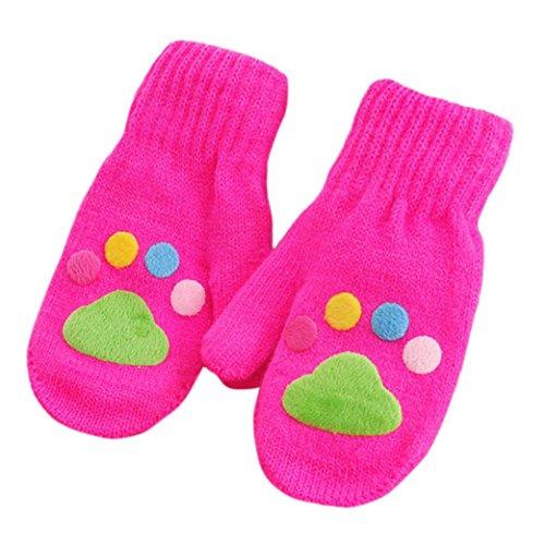 Handschuhe Longra, Säugling Baby Mädchen Jungen Winter warme Handschuhe(1 bis 6 Jahre) (Hot pink) Hand Stricken Baby Pullover