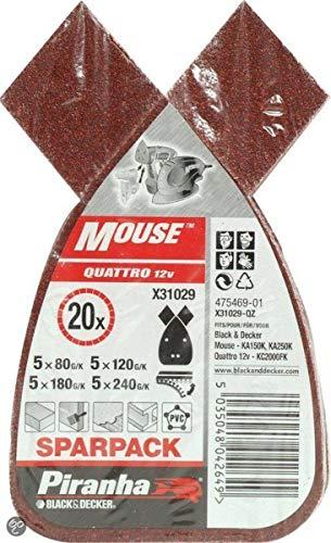 Black+Decker X31029-QZ - 20 hojas lija Mouse. Grano