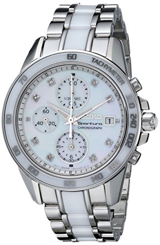 Seiko Women's SNDX95 Sportura Classic Ceramic Chronograph Watch