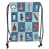 Fevthmii Drawstring Backpacks Bags,Kids,Ice Skating Winter Sports Skiing Boot cap Glasses Glove Helmet Skates Snowboard Print, Soft Satin,5 Liter Capacity,Adjustable String Closure,The STYL