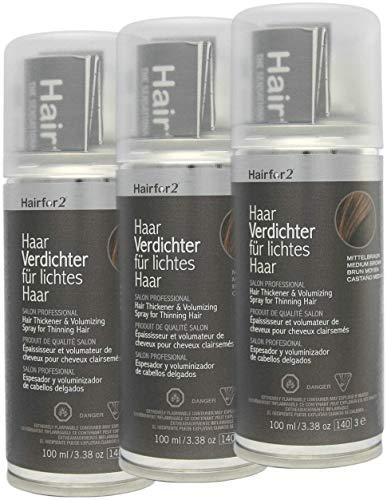 Vorratsangebot! 3 x Hairfor2 Haarverdichtungsspray 100ml (Mittelbraun)