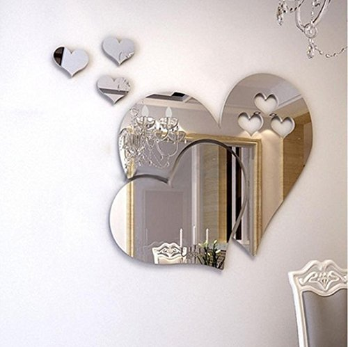 Indexp 3D Removable Mirror Floral Wall Sticker Vinyl Art Home Room Decors Decals (Love Hearts/ Silver)