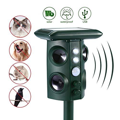 Beaspire Ultraschall Tiervertreiber Solar Tierabwehr Wasserdicht Abwehr Katzenschreck Hundeschreck Marderabwehr vogelabwehr