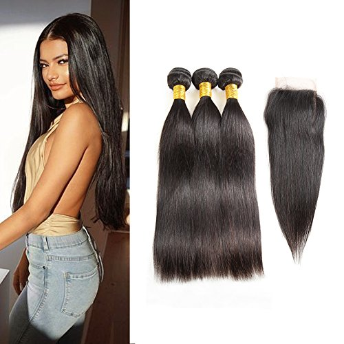 Huarisi 300g Straight Brazilian Weave with Lace Closure plus Baby Hair Slightly...