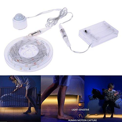 Lumière Détecteur de Mouvement, Auledio LED Sensor Strips la Lumière de Lit IP65 Ruban LED Lumière Lampe de Nuit avec Minuterie d'arrêt automatique pour Lit, Salle de Bain, Armoire, Escalier, Couloir-1.5M
