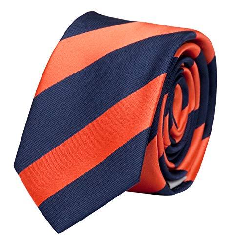Fabio Farini Moderne Krawatte 6 cm in verschiedenen Farben, Orange-Blau