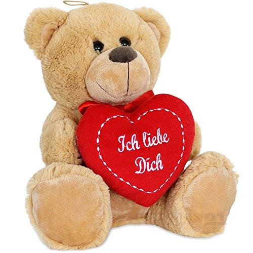 Preisvergleich Produktbild matches21 Teddy Teddybär Plüschbär mit Herz Ich liebe Dich 25 cm Plüschteddy Kuscheltier Schmusetier